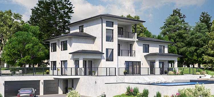 Two large multi-story custom homes in Hayward, CA. Developed architectural permit sets, 3D models, and civil and structural engineering plans