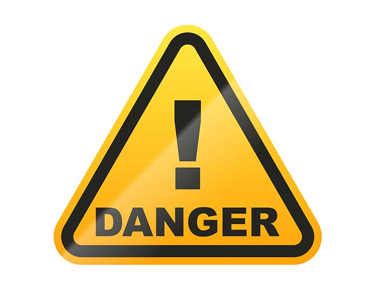 Danger sign warning against non disclosure of civil actions by Contractors State License Board