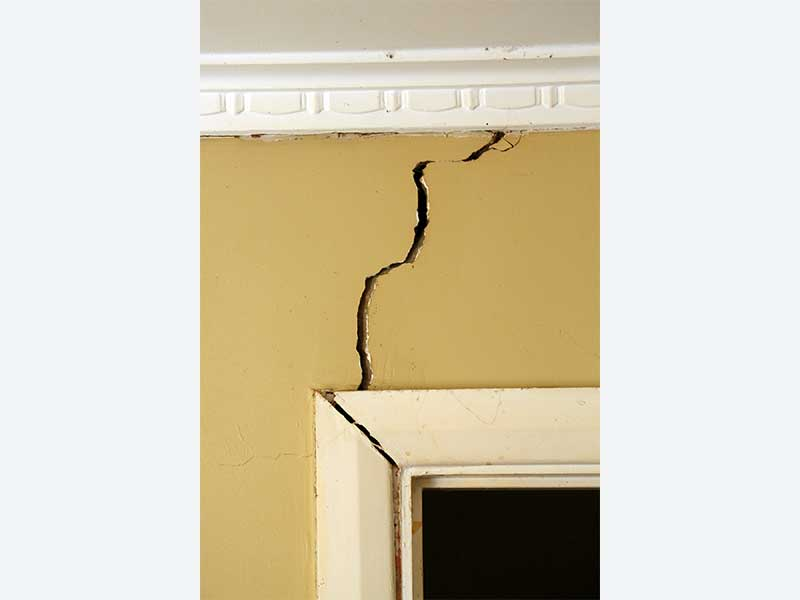 Crack in wall as a warning sign of foundation issues