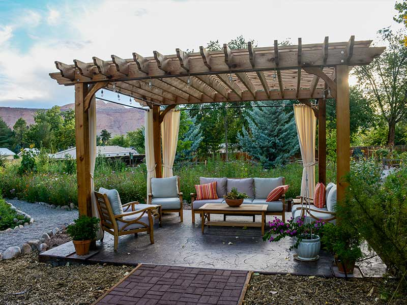 Add a pergola for shade on sunny days