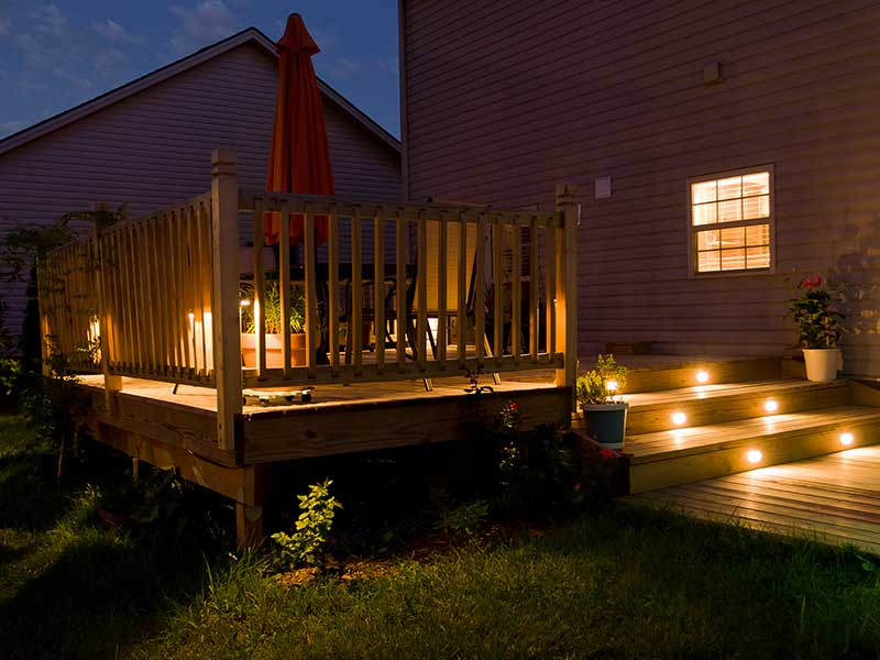Deck stairs with light