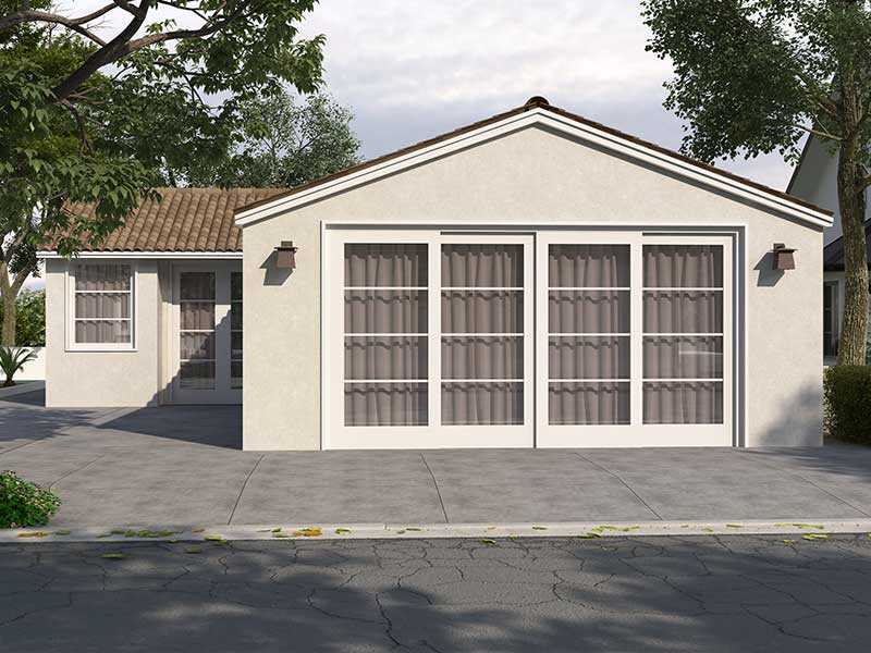 A garage converted into an accessory dwelling unit (ADU).
