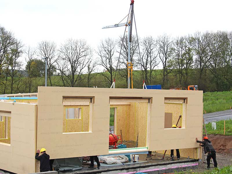 This is an example of pre-fabricated ADU being assembled on location