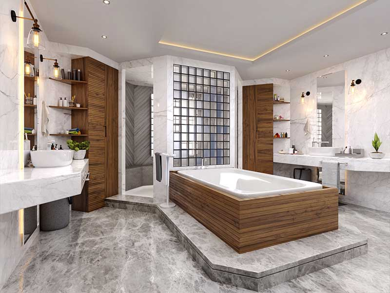 A remodeled bathroom showing a creative use of space and materials for an appealing and functional room.